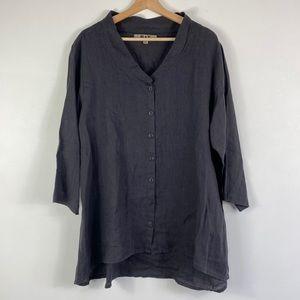 FLAX black linen button down v-neck LRG